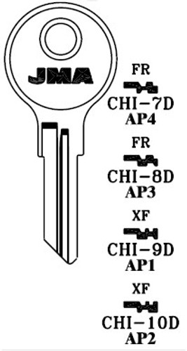 Key blank, JMA CHI9DE for Chicago AP1/101AM