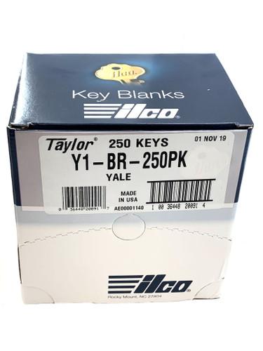 Y1 Brass Key Blank, Ilco Y1-BR-250PK, 250/Box
