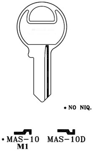 Key blank, JMA MAS10E for Master M1/1K