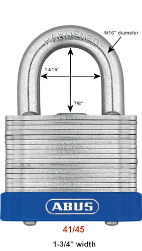 Abus 41/45 Laminated Steel Padlock, Factory Keyed