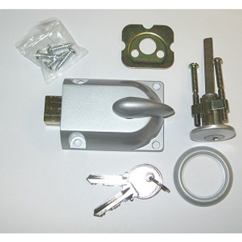 Garage Door Lock with Key Cylinder, Grey FInish (Custom Keyed)