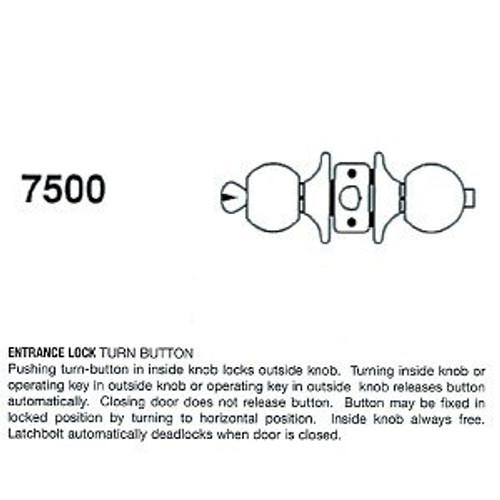 Cal-Royal 7500 Entry Lock, Stainless Steel 32D, Custom Keyed