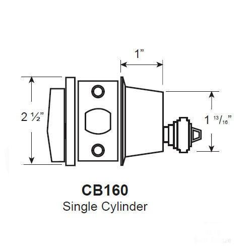 Cal-Royal CB160-US10 Satin Bronze Single Cylinder Deadbolt, Custom Keyed