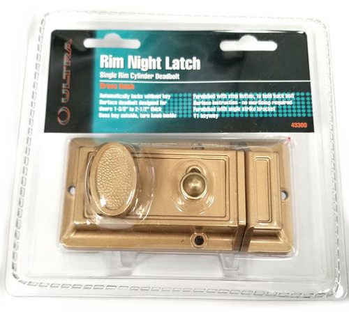 Ultra Hardware 43300 Rim Cylinder Night Latch, Custom Keyed