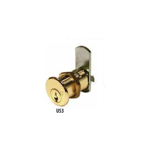 "Olympus DCN2 Cam Lock, 1-3/16"" Bright Brass/US3, Factory Keyed"