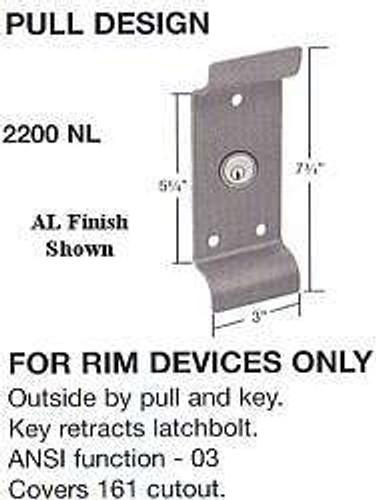 Cal-Royal 2200NL AL Trim, for 2200 Series Device, Custom Keyed