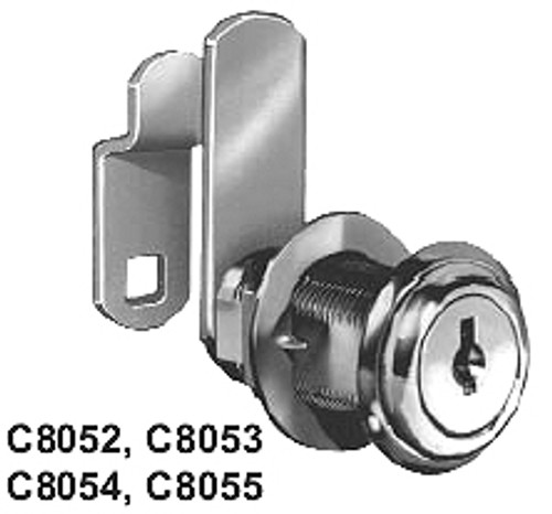 CompX National C8052-C346A-3 Cam Lock, 5/8 Bright Brass, Keyed Alike C346A