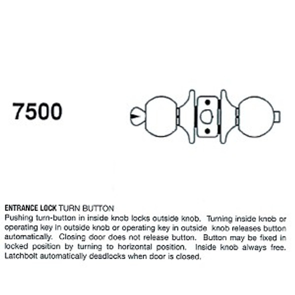Cal-Royal 7500 Entry Lock, Stainless Steel 32D, Keyed Different