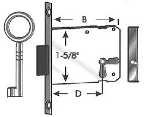 Major Mfg MS-663-15 Deadlock, Furniture Lock Antique Style 663/15