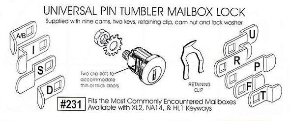 Mailbox Lock, 9 Cams HL1 KWY