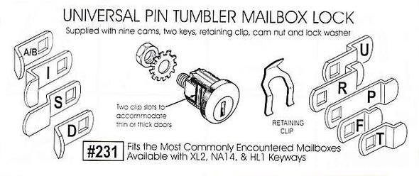 Mailbox Lock, 9 Cams XL KWY