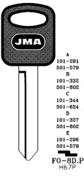 Key Blank, JMA FO8DP for Ford H67P (RH)
