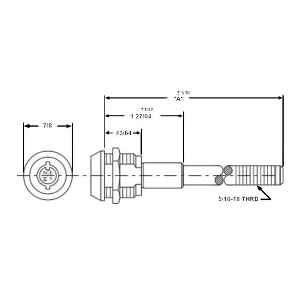 Compx Chicago CSA4107-18 Screw Type Lock, 18 Thread