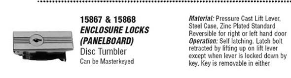 CCL 15867 CAT60 Enclosure Lock Keyed Alike CAT60