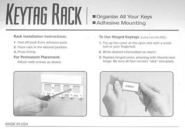 Key Tag Rack, Grey W/6 Clear Tags