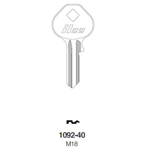 Key blank, Ilco 1092-40 for Master Padlock K40
