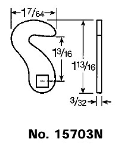 """CCL 15703N Cam, 1-3/16"""" Hook For CCL Cam Lock"""
