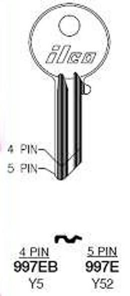 Key blank, Ilco 997E Yale 5-pin Y52