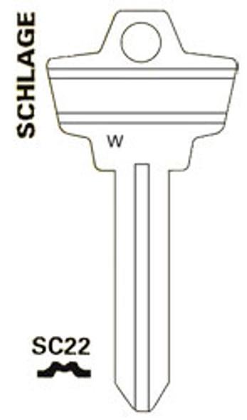 JET SC22 Key Blank for SCH `W` profile