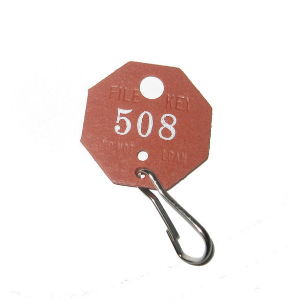 Lund 507 Key Tags, Octagonal Red Fibre Numbered