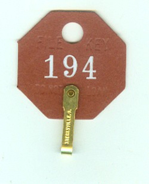 Lund 508A Key Tags, Octaganol Red Fibre Numbered
