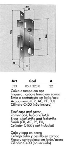 Papaiz MZ35 Mortise Lock Complete US3, Double Cylinder