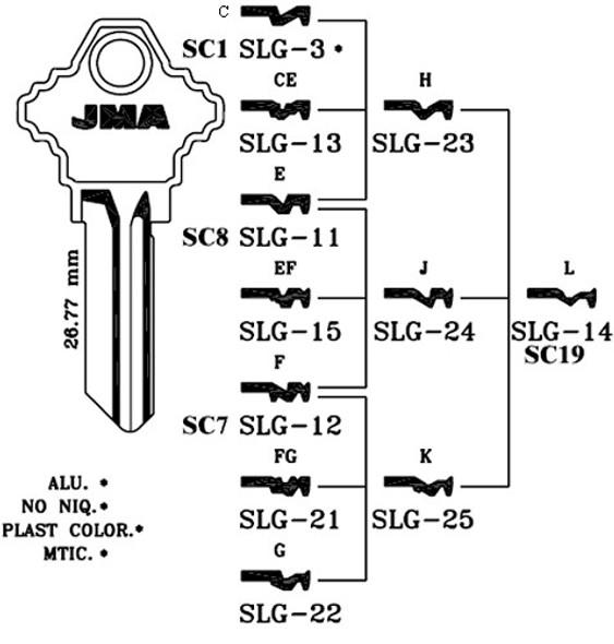 Key blank, JMA SLG22 for SCH 1145G