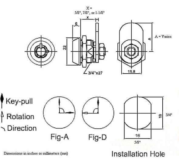 "MEI 2400L Cam Lock, Tubular 1-1/8"" Keyed Different"