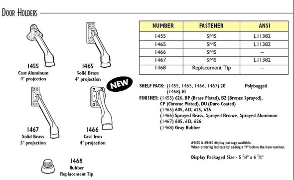 Don-Jo 1468 Rubber Tip Stop for 1465 series (Sold Each)