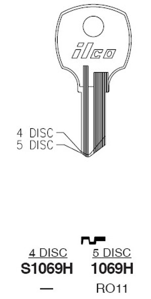 Ilco S1069H Key Blank for Compx National