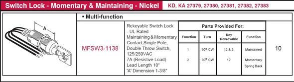 Switch Lock, Multi-Function SW3-1138 Keyed Random