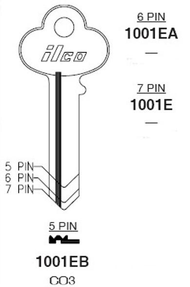 Key blank, Ilco 1001EB Corbin