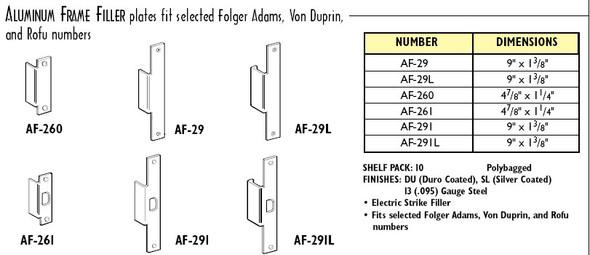 Don-Jo AF-261-SL Electric Strike Filler Plate, Silver Finish