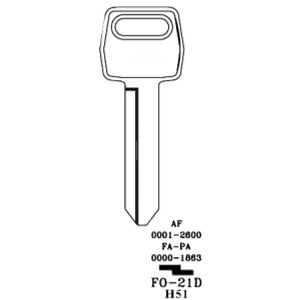 Key blank, JMA FO21DE for Ford H51 Primary