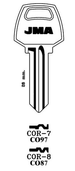 Key blank, JMA COR8E for Corbin CO87/1001EH