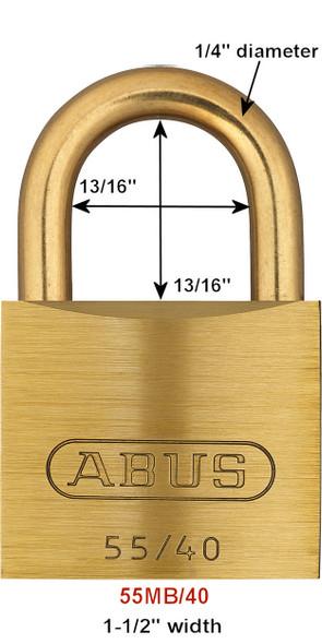 Abus 55MB/40 KA 5401 Padlock Brass Body with Brass Shackle, Keyed Alike 5401