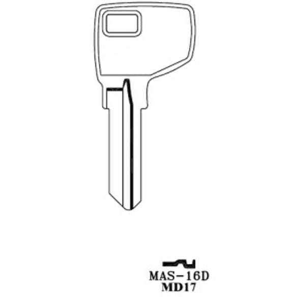 Key blank, JMA MAS16DE for Master Dexter MD17