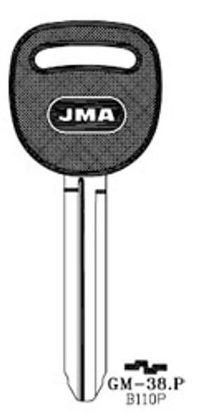 Key blank, JMA GM38P for GM B110P/P1114 (RH)
