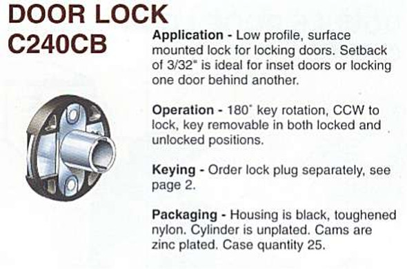 Compx Timberline C240CB/CB-240 Desk Lock Less Cylinder