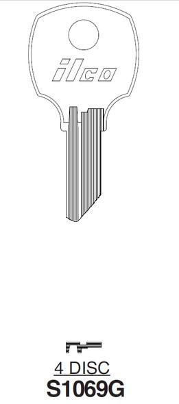 Ilco S1069G Key blank, National D8783