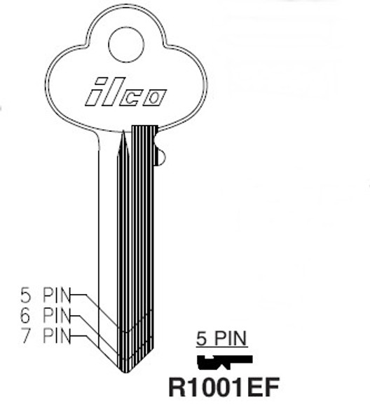 Key blank, Ilco R1001EF Corbin 5-pin