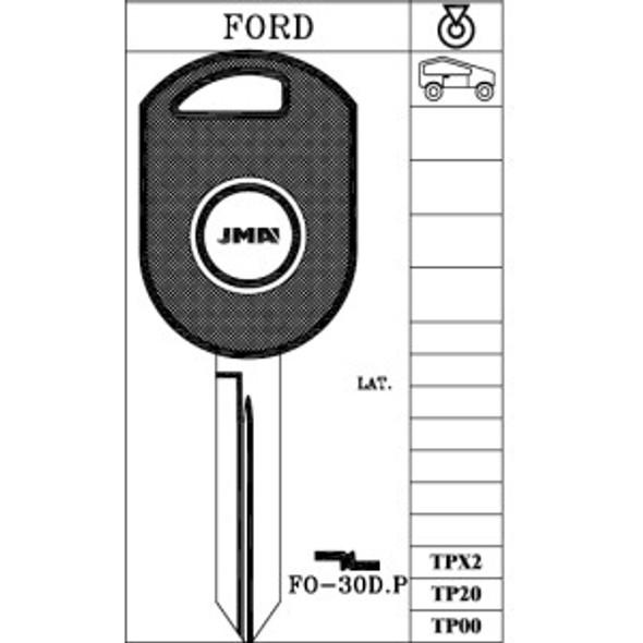 JMA TP00FO30DP Key Blank for Ford H84PT W/O Transponder