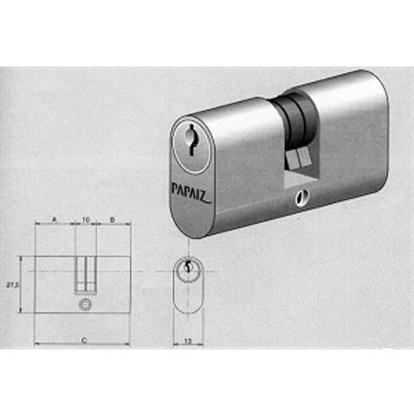Papaiz C400/55 Double Keyed Cylinder, Brass Finish