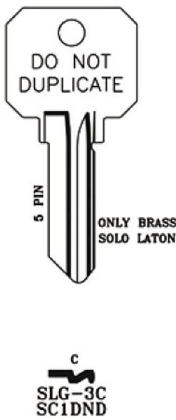 JMA SLG-3C Key Blank, SC1 DND Brass