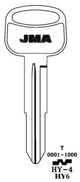 Key blank, JMA HY4 for Hyundai HY6