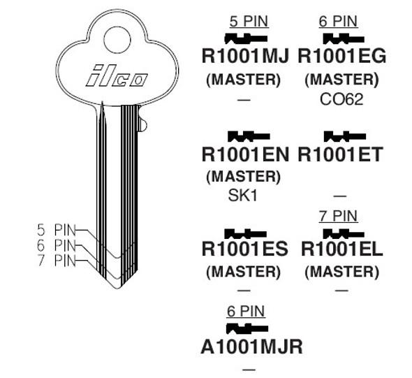 Key blank, Ilco R1001EG Corbin 6-pin CO62