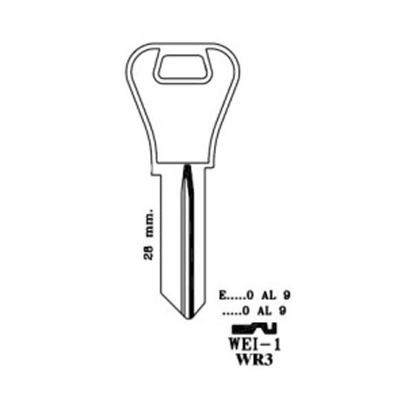 Key blank, JMA WEI1E for Weiser WR3