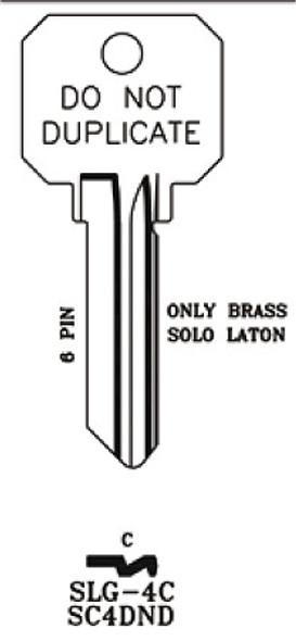JMA SLG-4C Key Blank, SC4 DND Brass