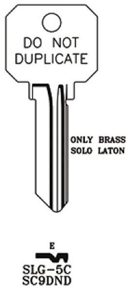 JMA SLG-5C Key Blank, SC9 DND Brass