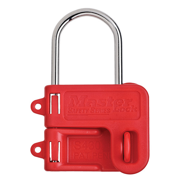 Master Lock S430 Lockout  Hasp, 4MM Steel Hasp with Red Plastic Handle